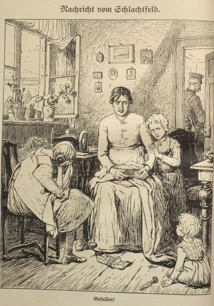»Nachricht vom Schlachtfeld – Gefallen!«. Zeichnung im »Wahren Jacob«, Nr. 735, vom 18. September 1914, S. 8470.