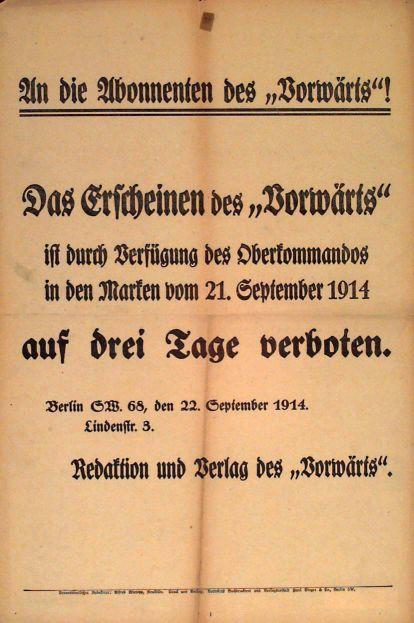 Plakat der »Vorwärts«-Redaktion vom 22. September 1914. Quelle: Archiv der sozialen Demokratie der Friedrich-Ebert-Stiftung.