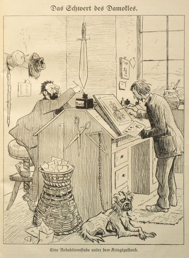 In steter Bedrohung und mit Maulkorb: »Eine Redaktionsstube unter dem Kriegszustand«. Karikatur des »Wahren Jacob«, Nr. 737, 16. Oktober 1914, S. 8493.