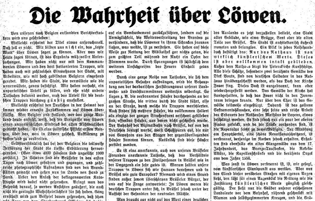 Ausschnitt des Artikels »Die Wahrheit über Löwen« im »Lübecker Volksboten« vom 1. Oktober 1914.