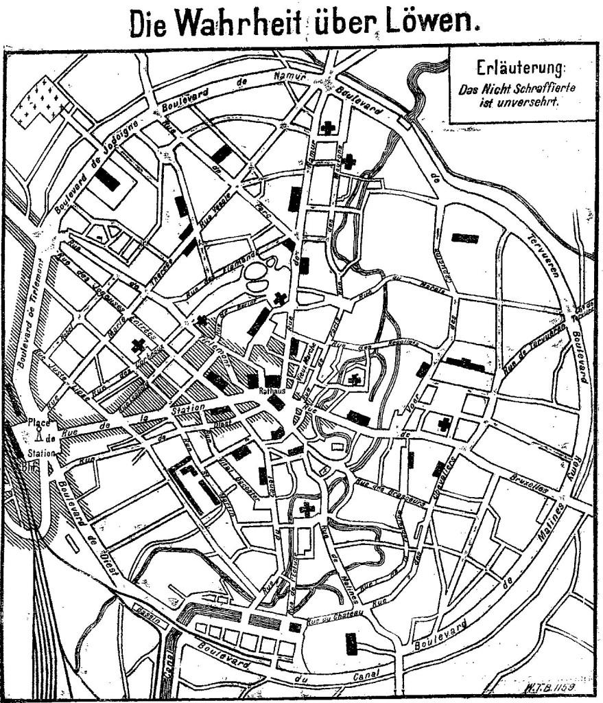Karte der Stadt Löwen mit Angaben zur Zerstörung (schraffierter Bereich) im »Lübecker Volksboten« vom 5. Oktober 1914.