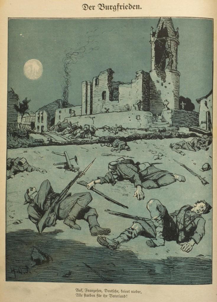 Der Burgfrieden in den Augen des »Wahren Jacob«, Nr. 738, Ende Oktober 1914, S. 8500.
