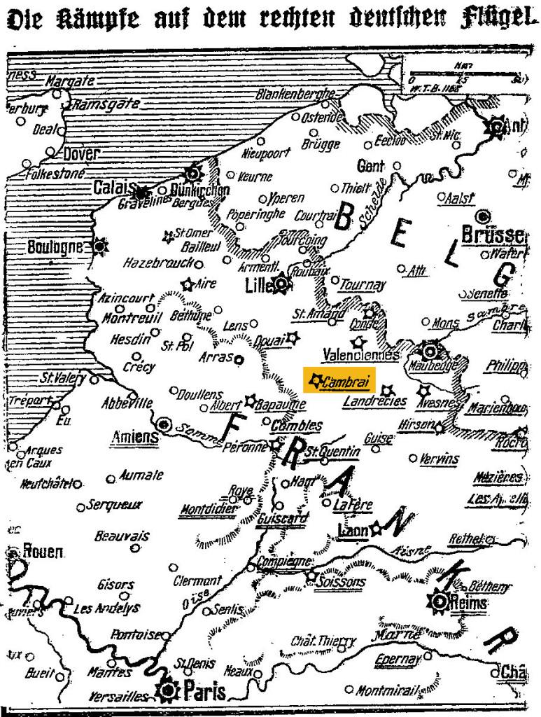 Karte des Kriegsgebiets in Nordfrankreich im »Lübecker Volksboten« vom 3. Oktober 1914 (farbige Markierung hinzugefügt).