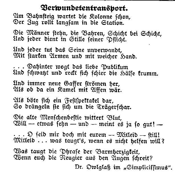 »Verwundetentransport« – Gedicht aus dem Simplicissimus, abgedruckt in der »Volksstimme« (Magdeburg) vom 1. Oktober 1914.