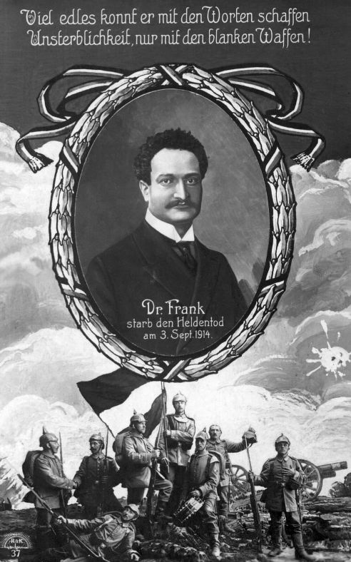 In Erinnerung an Ludwig Frank wurde diese Postkarte verkauft. Quelle: Archiv der sozialen Demokratie der Friedrich-Ebert-Stiftung.