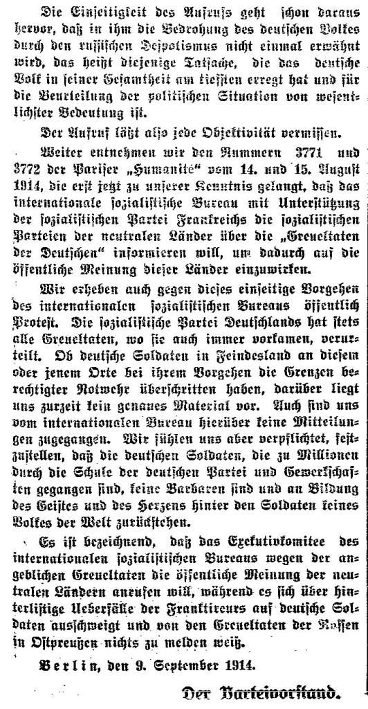 Die Gegendarstellung des SPD-Parteivorstands aus dem »Lübecker Volksboten« vom 11. September 1914.