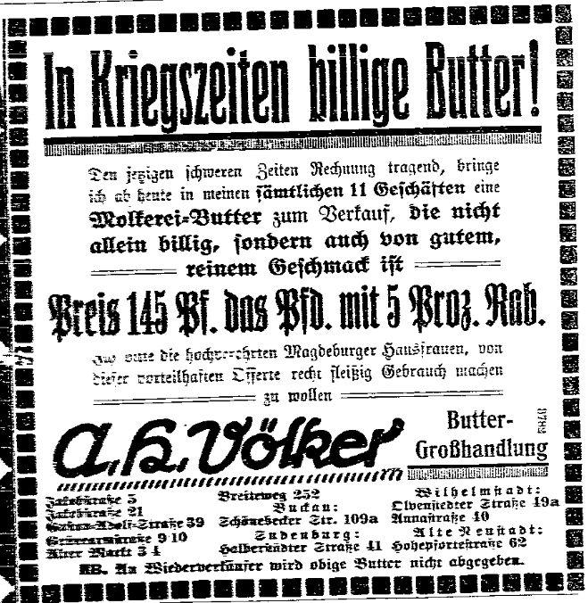 Anzeige für »billige Butter« in Kriegszeiten aus der »Volksstimme« (Magdeburg) vom 3. November 1914.