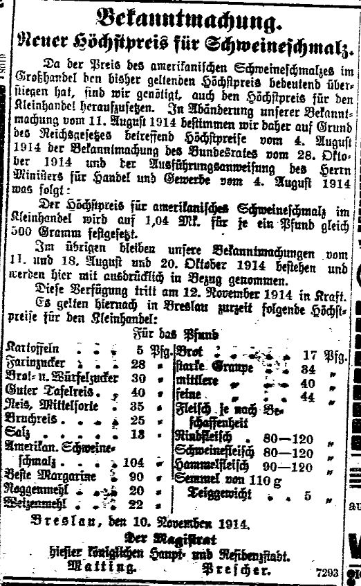 Meldung des Magistrats der Stadt Breslau zur Festsetzung von Höchstpreisen für Schweineschmalz und Angaben zu den Höchstpreisen für den Kleinhandel aus der »Volkswacht« für Schlesien, Posen und die Nachbargebiete vom 11. November 1914.