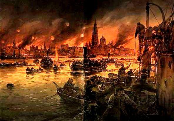 Die Einwohner von Antwerpen flüchten vor den deutschen Granaten. Gemälde des deutschen Marinemalers Willy Stöwer (1864–1931). Rechte: gemeinfrei. Quelle: Wikimedia Commons.
