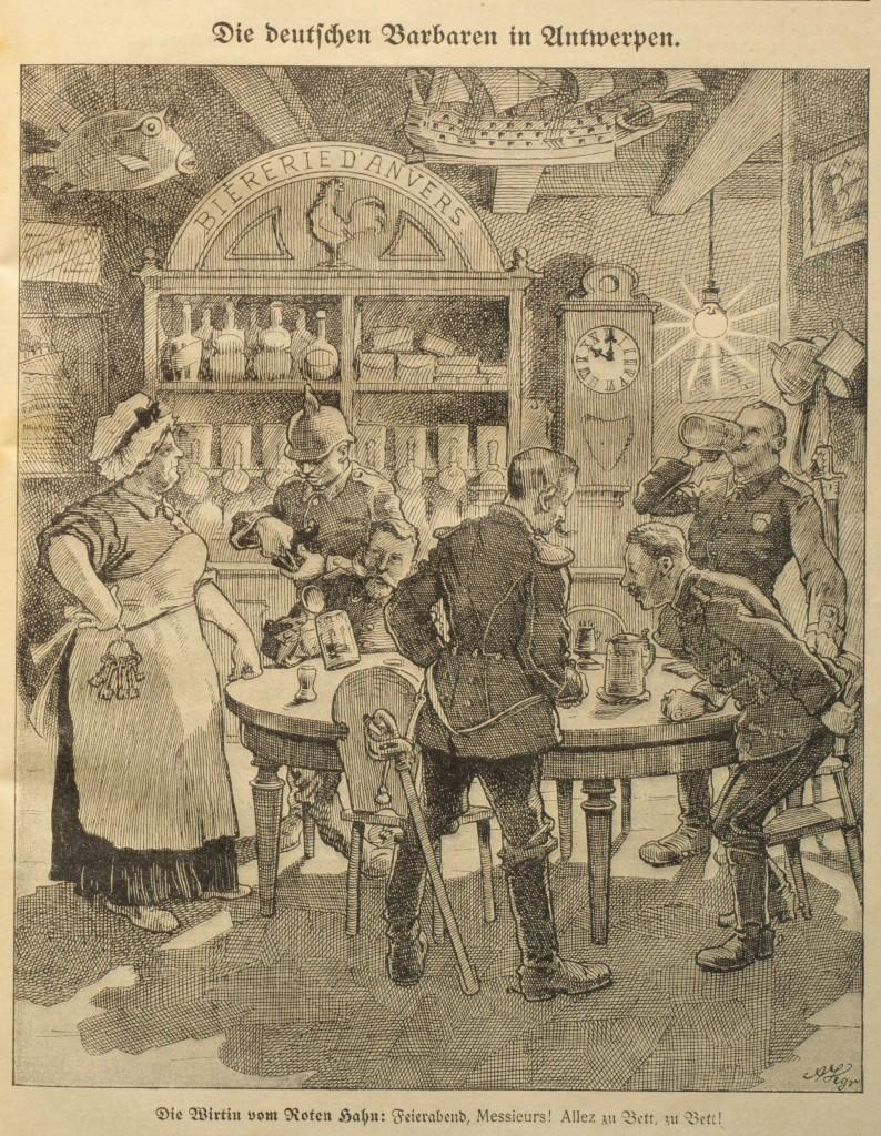Den Vorwürfen, deutsche Soldaten hätten Kriegsgräueltaten begangen, begegnete man im Kaiserreich ungläubig. Karikatur aus dem »Wahren Jacob«, Nr. 738, Ende Oktober 1914, S. 8501.
