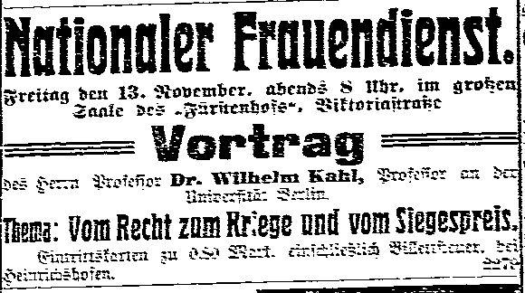 Anzeige eines vom »Nationalen Frauendienst« organisierten Vortrags des Berliner Rechtsprofessors Wilhelm Karl, Mitglied der Nationalliberalen Partei, in der »Volksstimme« (Magdeburg) vom 11. November 1914.