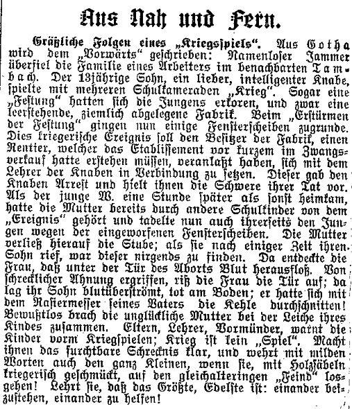 »Krieg ist kein ›Spiel‹« – Mahnung des »Lübecker Volksboten« vom 27. Oktober 1914, Kriegsspiele der Kinder zu unterbinden und sie stattdessen zu gegenseitiger Hilfsbereitschaft zu erziehen.