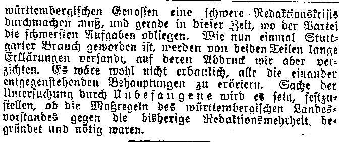 Bericht des »Lübecker Volksboten« vom 10. November 1914 zu den Parteistreitigkeiten in Stuttgart.