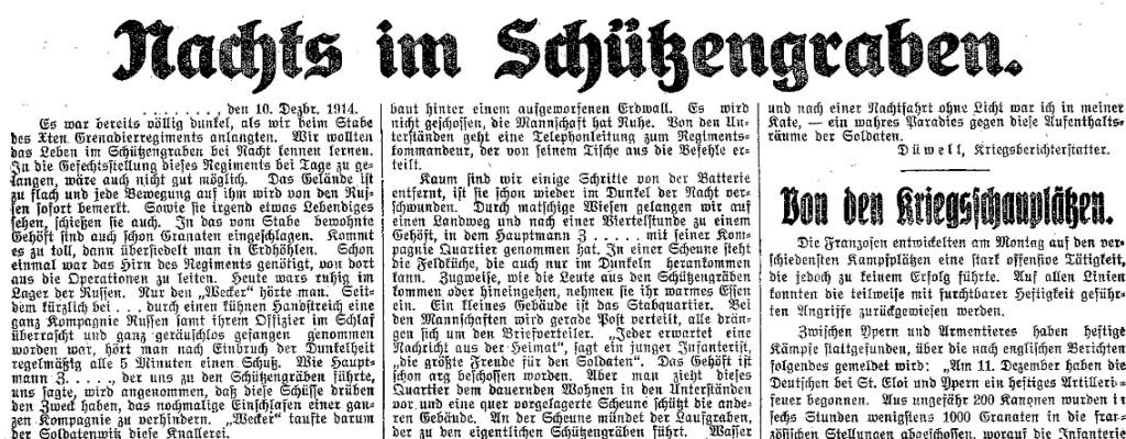 Ausschnitt des Berichts von Wilhelm Düwell im »Lübecker Volksboten« vom 16. Dezember 1914.