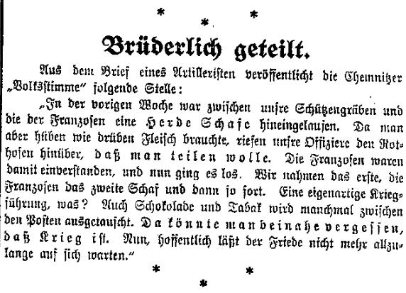 Französische und deutsche Soldaten teilen sich Schafe. Auszug eines Feldpostbriefs mit Friedenswunsch aus der »Volksstimme« (Magdeburg) vom 9. Dezember 1914.