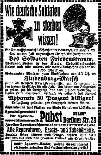 »Der ernsten Zeit angemessene Kriegs-Weihnachtslieder« – Anzeige in der »Volksstimme« (Magdeburg) vom 12. Dezember 1914.