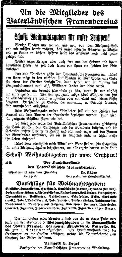 Schon Wochen vor dem Fest wurde auch in sozialdemokratischen Zeitungen vom »Vaterländischen Frauenverein« zur Abgabe von »Liebesgaben« an Soldaten aufgerufen. Ausschnitt aus der »Volksstimme« (Magdeburg) vom 5. November 1914.