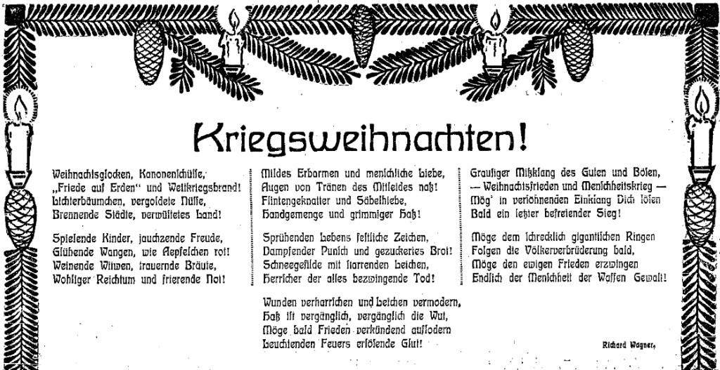 Für die Völkerverbrüderung und gegen den Menschheitskrieg – Friedensgedicht zu Weihnachten 1914. Ausschnitt aus der »Volkswacht« für Schlesien, Posen und die Nachbargebiete vom 24. Dezember 1914.